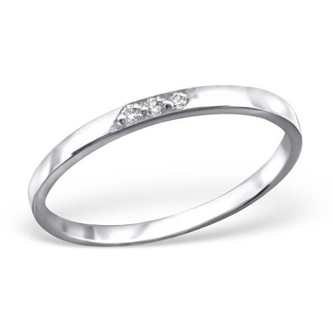 Dainty 3 stone silver band