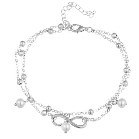 Double layered Infinity and Pearl Anklet