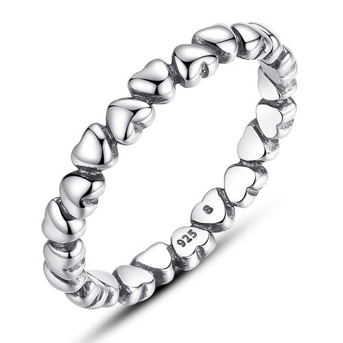 Hearts Silver Stacking Ring