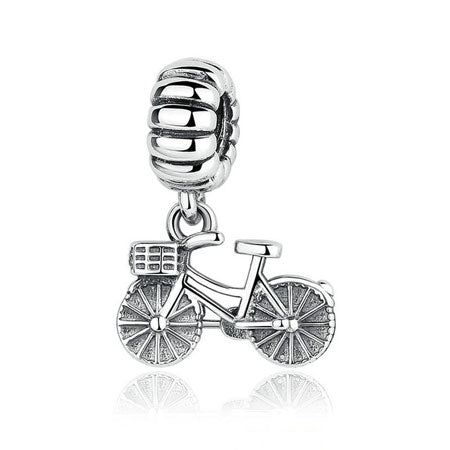 Silver Bicycle Pendant Charm