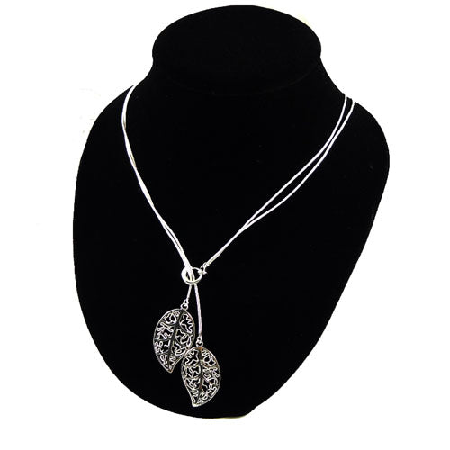 Silver Two Leaf Necklace
