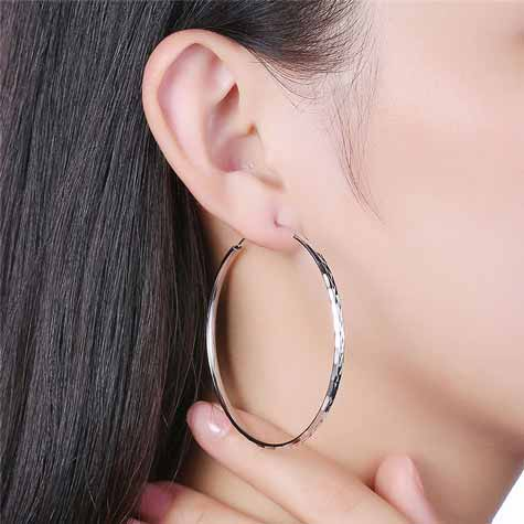 Textured Large Hooped Silver Earrings