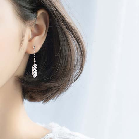 silver feather drop earrings women