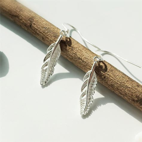 sterling silver feather drop earrings women