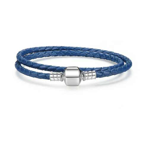 blue leather silver wrap charm bracelet
