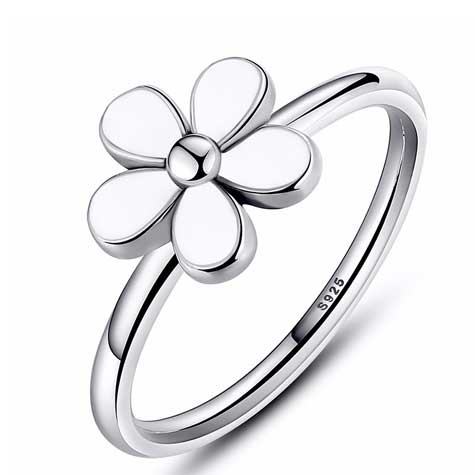 daisy flower silver ring