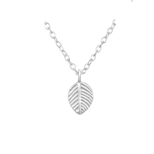 Tiny Leaf Silver Necklace