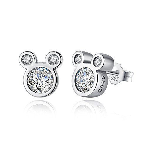 Minnie Mouse Silver Cubic Zirconia Earrings