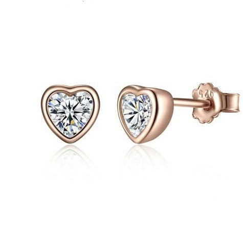 heart silver cubic zirconia earrings