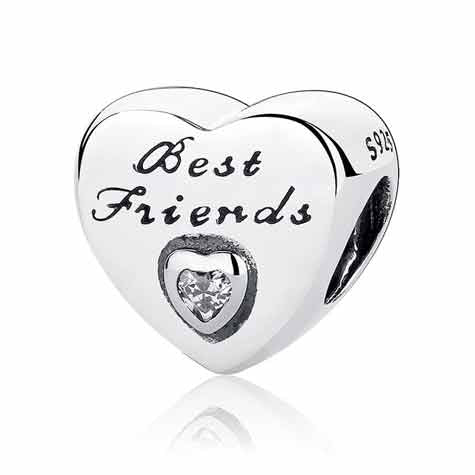 silver best friends charm