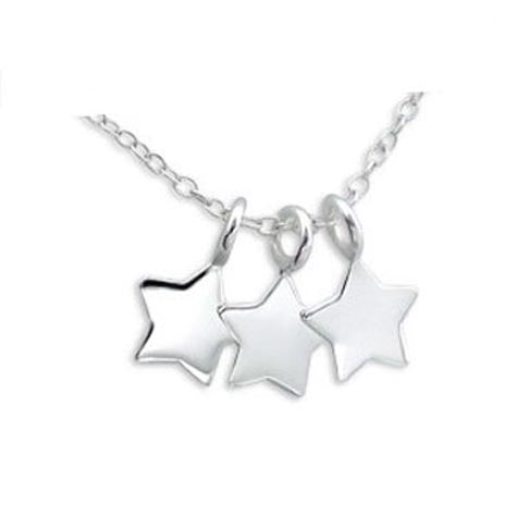 3 stars silver necklace