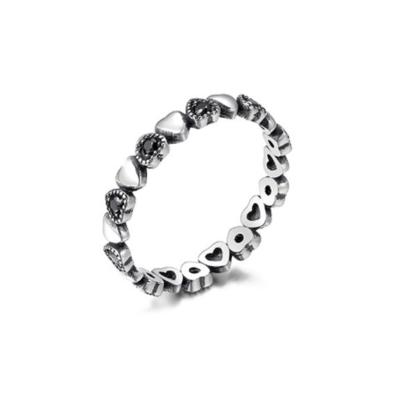 Sterling Silver Forever Love Heart Stacking Ring