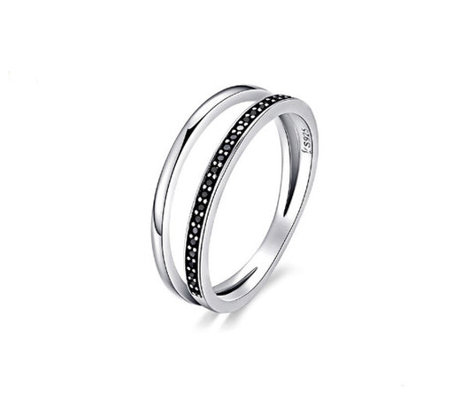 Sterling Silver Black Double Stripe Stacking Ring