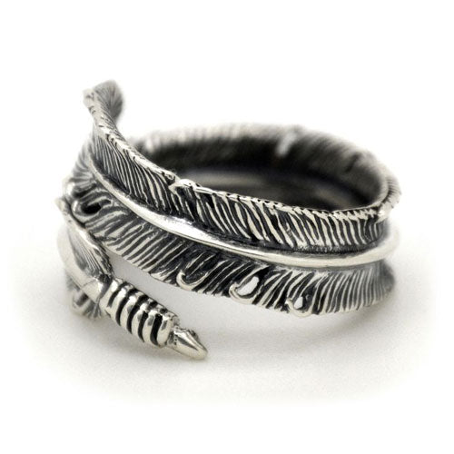 Silver Tribal Feather Ring