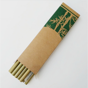 Bamboo Straw Set - 10 Reusable Eco-Friendly Straws + Cleaning Brush-Cleverbuydesign