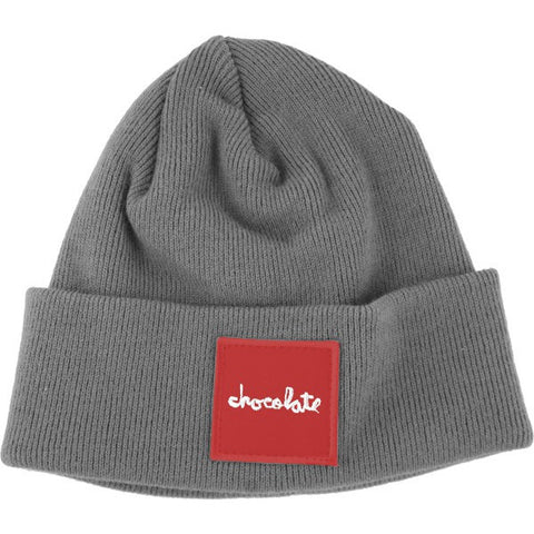 RED SQUARE FOLD BEANIE - GREY