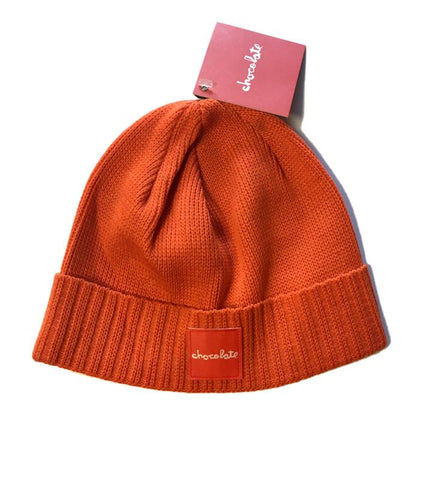 RED SQUARE FOLD BEANIE - ORANGE