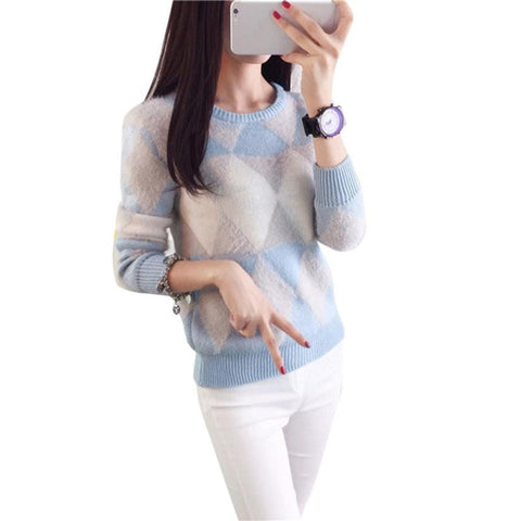 Casual female O-neck Long Sleeves Sweater Blouse