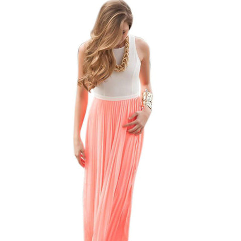 Casual Summer Beach Party Dress Backless Women Maxi