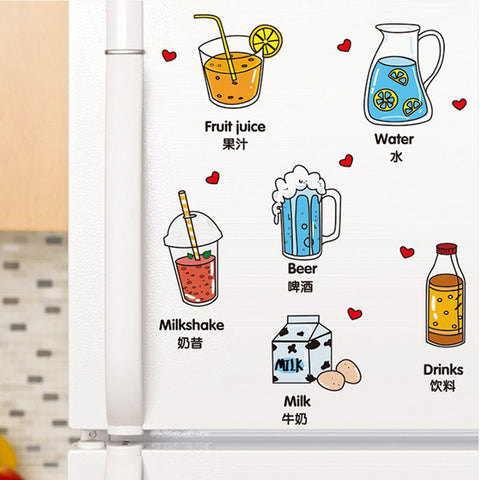 Removable kitchen Refrigerator Decal Mural Sticker