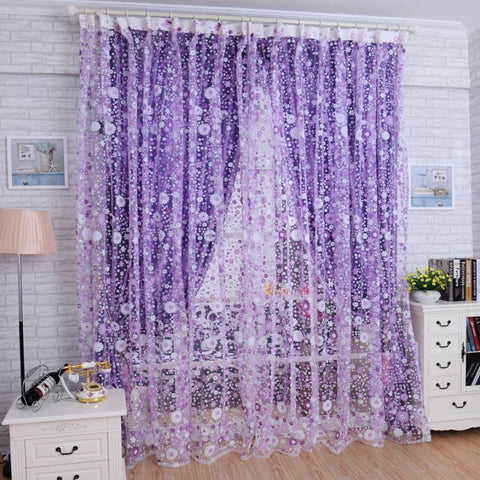 Floral Print Voile Door/Window Curtain