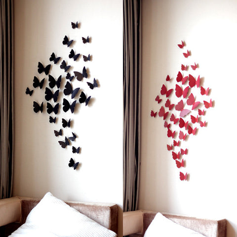 Home Decoration 3D Wall Stickers Butterfly 12 Pcs