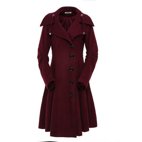 Turn-down Collar Slim Women Wool Coat