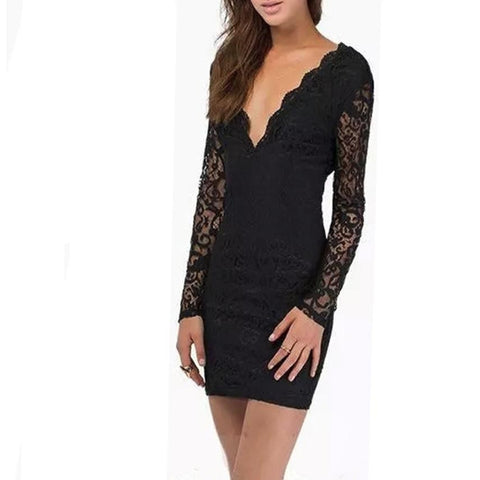 Lace Dress Womens Sheath Night Out Rib Long Sleeves