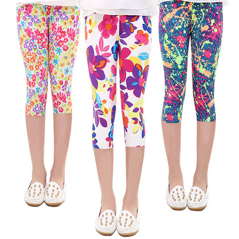 Cropped Flower Print Leggings