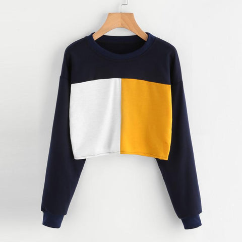 Long Sleeve Patchwork Sweatshirt