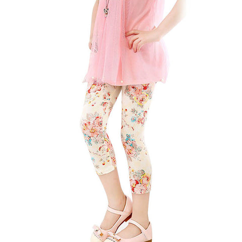 Flower Print Girls Leggings