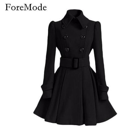 ForeMode Belt Buckle Mid-Long Trench Double-breasted Wool Coat