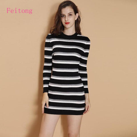 knitted Long Sleeve White Black Striped Cardigan