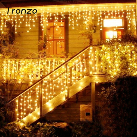 Tronzo Christmas Tree LED Light Ornament 4m Multicolor Icicle Curtain Party Wedding Decoration Lights For Home 2017 EU Plug