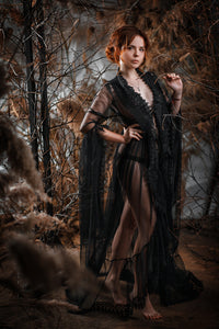 Gothic Black Lace Peignoir