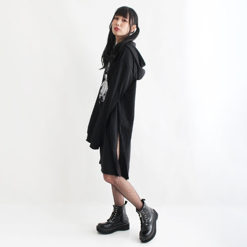 Drug Honey Melting Skeleton Teddy Side Slit Hoodie Dress (Black)