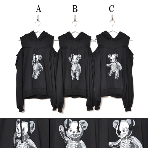 Drug Honey Skeleton Teddy Printed Off-Shoulder Hoodie (2type)