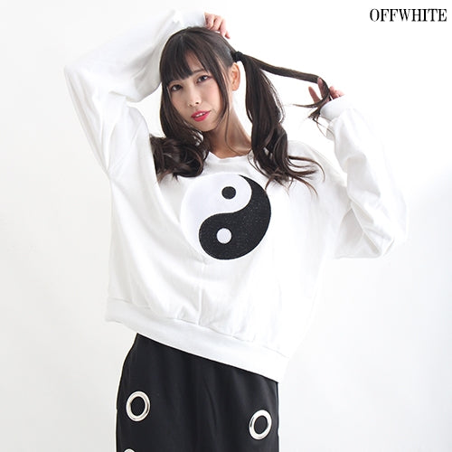 Drug Honey Yin And Yang Embroidery Sweatshirt (2 color)