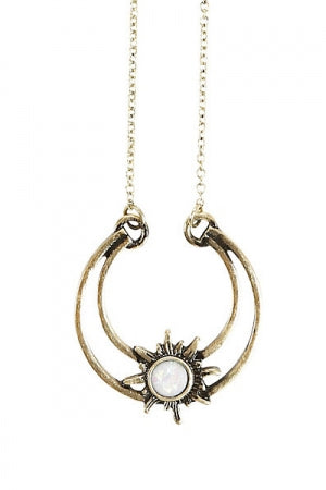GOLD TONE MOON WITH SUN OPAL CENTER NECKLACE - YOU ARE MY POISON