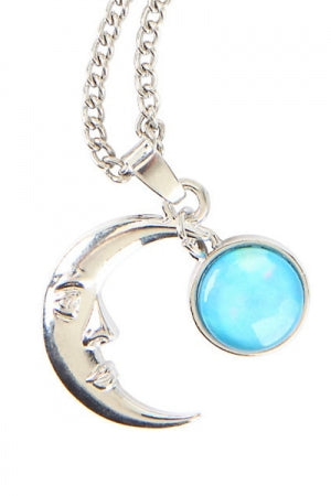 BLACKHEART CRESCENT MOON BLUE STONE NECKLACE - YOU ARE MY POISON