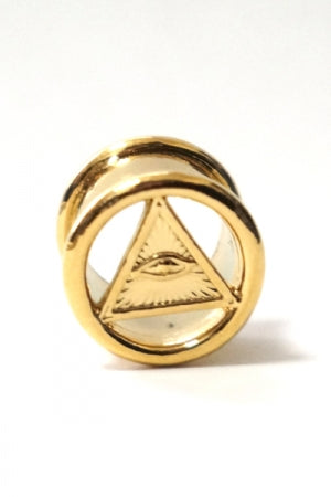 Pyramid Frame Tunnel Body Pierce (Gold) - YOU ARE MY POISON