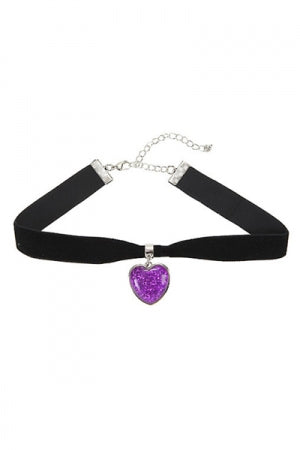 PURPLE GLITTER HEART BLACK VELVET CHOKER - YOU ARE MY POISON