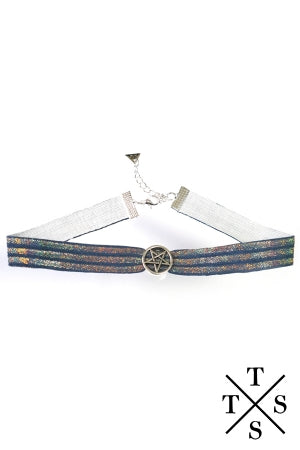 XTS Hologram Pentagram Leather Choker - YOU ARE MY POISON