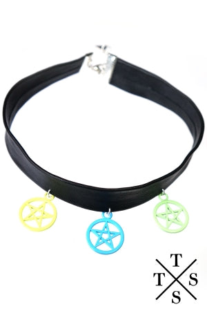 XTS Blue Pentagram Leather Choker - YOU ARE MY POISON