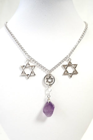 XTS Hexagram and Stone Chain Choker - YOU ARE MY POISON