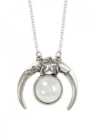 CRESCENT MOON OPAL NECKLACE - YOU ARE MY POISON