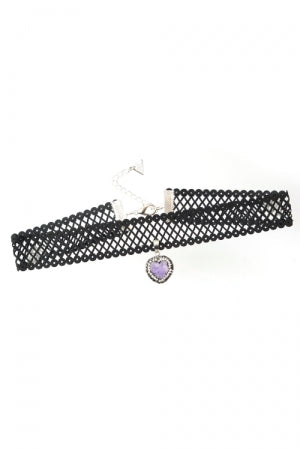 XTS Mesh Lace Ribbon Purple Heart Stone Choker - YOU ARE MY POISON