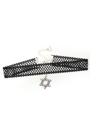 XTS Mesh Lace Ribbon Double Hexagram Choker - YOU ARE MY POISON