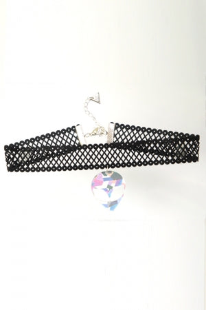 XTS Mesh Lace Ribbon Hologram Alien Choker - YOU ARE MY POISON