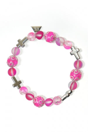 XTS Glitter Pink Cross Bracelet - YOU ARE MY POISON